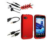 eForCity Red Clip-On Rubber Case Cover + 4-IN-1 Earphone Combo For Motorola Atrix 2 MB865