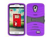 LG F70 D315 Case - eForCity Wave Symbiosis Dual Layer [Shock Absorbing] Protection Hybrid Stand Rubber Silicone/PC Case Cover w/Screen Protector for LG F70 D315, Purple/Black