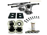 "LONGBOARD Skateboard TRUCKS COMBO set w/ 70mm CLEAR WHEELS + 9.675"" POLISHED trucks"