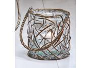 Cape Craftsmen Willow Weaved Round Glass Candle Holder, Small