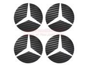 Mercedes-Benz Wheel Center Cap Black Carbon Fiber Textured Inserts, Sets of 4