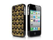 Fleur-De-Lis in Gold and Black iPhone 4 4S Black Cell Phone Case