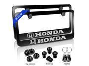 Honda Black Metal License Plate Frames 6 Items Double Deluxe Kit