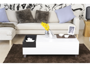 Jade Modern White Coffee Table with Serving Block