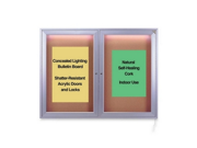 Ghent Indoor Lighted Bulletin Board , Satin Aluminum - GHECPA23648K