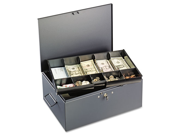STEELMASTER by MMF Industries 221F15TGRA Extra Large Cash Box with Handles, Disc Tumbler Lock, Gray