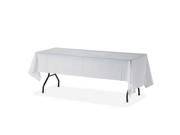 """Genuine Joe 10328 Rectangular Table Cover 108"""" x 54"""" - 6/Pack - Plastic - White"""