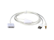 QVS Hi-fi Stereo Audio & USB Charger Cable for iPod, iPhone & iPad/2/3