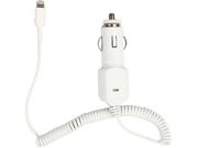 4XEM White Lightning 8 Pin Car Charger with USB Port for Apple Devices 4X8PINCARCHRG