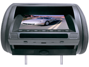 Pyle - Adjustable Hideaway Headrest 7'' TFT Video Monitor w/Built-In  DVD/USB/SD Player & Wireless IR/FM Transmitter/ Built-in 32 Video Game System (GREY COLOR) (Refurbished)