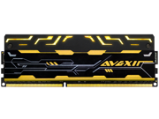 AVEXIR Blitz 1.1 Series Original Gold (Yellow LED) 8GB Kit (2 x 4GB) Dual Channel 240-pin DDR3 SDRAM DDR3 2400 (PC3 19200) Desktop Memory Module Model AVD3U24001004G-2BZ1SE