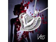 "18K/750 White Gold Triple Hearts Diamond Pendant w/925 Sterling Silver Chain 18"" (0.37cttw, G-H color, good SI1-SI2 Clarity)"