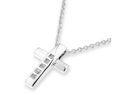 "18K White Gold Princess Cut Diamond Cross Pendant W/925 Sterling Silver Chain 18"" (0.10 cttw, G-H Color, VS2-SI1 Clarity)"