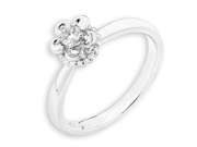 18K White Gold Flowers Prong Setting Diamond Promise Ring (0.08 cttw, G-H Color, VS2-SI1 Clarity)