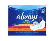 Always Fresh Pads, Maxi, Flexiwings, Overnight, Clean Fresh Scent, 24 Count (pack Of 6)