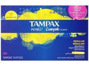 Tampax Pearl Compak Plastic, Regular Absorbency, Unscented Tampons, 40 Count (pack Of 2)