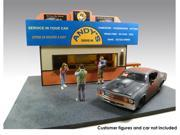 Burger Stand Diorama For 1:24 Diecast Cars With 2 Chef Figures  1/24