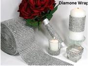 "30""x4.75"" Silver Diamond Mesh Wrap Roll Sparkle Rhinestone Crystal Ribbon"
