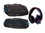 Sades Over Ear Surround Sound PC Gaming Headset & Music Headset w/ Mic+Water-proof LED Illuminated Ergonomic Backlit USB Wired Gaming Keyboard(Multimedia Shortcut Keys, Red/Blue Dimmable Backlight)