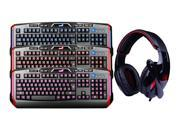 Sades Over Ear Surround Sound PC Gaming Headset & Music Headset w/ Mic+3 Color LED Illuminated Ergonomic Backlit USB Wired Gaming Keyboard(Multimedia Shortcut Keys, Red/Blue/Purple Dimmable Backlight)