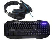 Sades Over Ear Stereo 7.1 Surround Sound PC Gaming Headset & Music Headset+LED Multimedia Illuminated Backlit USB Wired Gaming Keyboard(Multimedia Shortcut Keys,Blue Backlight)