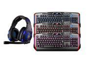 Sades SA-907 Over Ear Stereo 7.1 Surround Sound PC Gaming Headset & Music Headset+3 Color LED Illuminated Ergonomic Backlit Gaming Keyboard(Multimedia Shortcut Keys,Red/Blue/Purple Dimmable Backlight)