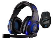 Professional USB Wired Optical 7D 7 Buttons 2000DPI Gaming Mouse Mice+Sades SA-907 Over Ear Stereo 7.1 Surround Sound PC Gaming Headset & Music Headset