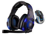 E-Blue Mazer II 2500 DPI Blue LED Optical USB Wired Gaming Mouse+Bluedio R+Sades SA-907 Over Ear Stereo 7.1 Surround Sound PC Gaming Headset & Music Headset