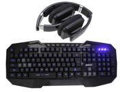 Bluedio USB Connector/ Bluetooth 4.0 Circumaural Wireless Folding Gaming Headset+LED Multimedia Illuminated Backlit USB Wired Gaming Keyboard(Multimedia Shortcut Keys,Blue Backlight)