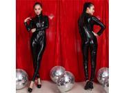 Sexy PVC Leather Zip Clubwear Catsuit Dress Front Costume Halloween Women Black Adult XL