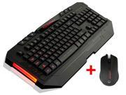 AGPtek PC60-Gaming-Mouse LED Illuminated Backlight Switchable USB Wired Gaming Keyboard with 2000DPI Multi-Color LED Gaming Optical Mouse