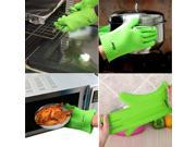 AGPtek Anti-slip Waterproof Potholder Heat Resistant BBQ Barbecue Gloves Grilling Oven Grill Mitts Insulated Safe  Dishwasher Protection Silicone Oven Mitt for Baking, BBQ, Cooking