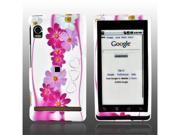 Pink Flower White Rubberized Hard Plastic Snap On Case Cover For Motorola Droid