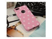 Baby Pink/ White Polka Dots Anti-slip Dot Jelly Series Crystal Rubbery Feel Silicone Skin Case Cover For Apple Iphone 5