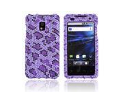 T-mobile G2x Bling Plastic Case - Purple/ Black Leopard On Light Purple Gems
