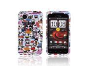 Slim & Protective Hard Case for HTC Droid Incredible 2 - Silver Skulls on Black
