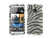Black Zebra On Silver Gems Bling Hard Plastic Case Snap On Cover For HTC One