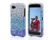 Blue/ Turquoise Waterfall On Silver Gems Bling Hard Plastic Case Snap On Cover For HTC First