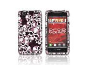 Slim & Protective Hard Case for Motorola Droid RAZR MAXX - Silver Skulls on Black