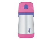 Thermos Foogo Phases Leak Proof Stainless Steel Straw Bottle, Pink/Purple, 10 Ounce