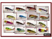 "Lot of 16 2.4"" Holographic Metallic Colors Shad Bass Topwater Fishing Lures Poppers"