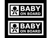 (Pack of 2) iJDMTOY JDM Style Baby On Board Safe Warning Die-Cut Decal Vinyl Stickers
