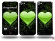 Glass Heart Grunge Green Decal Style Vinyl Skin - fits Apple iPod Touch 5G (IPOD NOT INCLUDED)