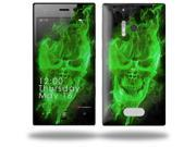 Flaming Fire Skull Green - Decal Style Skin (fits Nokia Lumia 928)