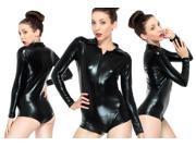 Sexy Metallic Zip Front Romper Bodysuit Clubwear Dancewear Black PU Lingerie