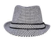 Unisex Two Tone Dog's Tooth Trilby Fedora Hat, Black/White