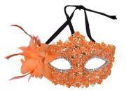 Orange Lace Ladies Charm Lace Rhinestone Party Masquerade Masks