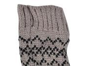 Womens Long Fingerless Gloves with Snowflake Reindeer Design Khaki