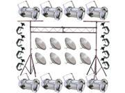 8 Silver PAR CAN 64 1000w PAR64 MFL C-Clamp Truss