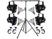 4 Black Short PAR CAN 38 120w PAR38 Spot C-Clamp Stand 4516